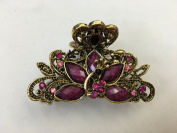 Gorgeous Vintage Jewellery Crystal Rhinestone Peacock Design Fashion Hair Claw Clips Hair Jaws Hair Jaw Clips - Large Size - Mauve Colour -For Hair Beauty Tools