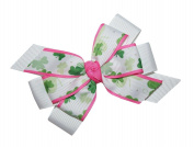 WD2U Girls Classy Pink St Patricks Day Green Shamrock Hair Bow on Alligator Clip