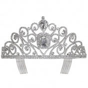 Crystal Framed Stones Accent Rhinestone Crystal Tiara Crown Silver Tone Clear