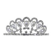 Small Crystal Framed Faux Pearl Rhinestone Prom Wedding Tiara Comb Silver Tone