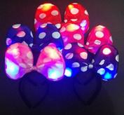 12 PC Light Up LED Polka Dots Bow Costume Ears Headbands