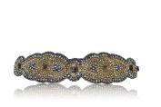 Bridal Gatsby 1920's Flapper Crystal Rhinestone Diamond Headband Adjustable Non-slip Comfortable for Wedding