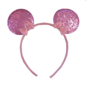 Baby Pink Sparkly Minnie Mouse Ears Fancy Dress