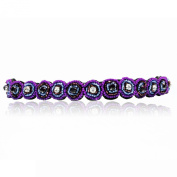 Purple Rhinestone and Beaded Headband. Bohemian Style Headband. Elastic Band to Fit Any Size Head. Comes with Look Guide to Show You Many Styles.