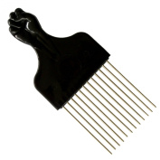 SSK® Square Afro Pick with Black Fist - Metal African American Hair Comb