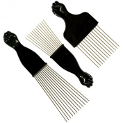 SSK® Afro Pick with Black Fist 3 Pack - Metal African American Hair Comb