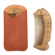 #1 Best Handmade Wood Comb for Beard and Hair, Oozes Awesome Sandalwood Aroma, Anti-Static and Hypoallergenic, No Snag, Protective PU Leather Case - Order Yours Now!