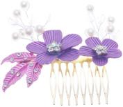 Flower Leaf Hair Comb Clip Crystal Rhinestones Gold