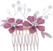 Gold Wedding Flower Diamante Enamel Hair Clip Comb