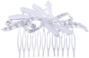 Silver Hair Comb Clip Crystal Rhinestones Decor Leaf