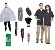 Standish Barber Student Kit including cape, razor, bristle brush, barber jacket, comb, neck duster, talc, and shears