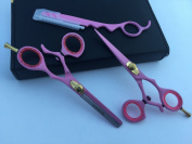 14cm Professional Barber Razor Edge Powder Coated Hair Cutting and Texturizing Shears Scissors Straight Razor Set+case Black