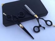 14cm Professional Barber Razor Edge Powder Coated Hair Cutting and Texturizing Shears Scissors Black Kit Set+case Black