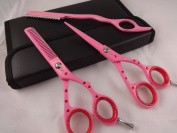 14cm Professional Barber Razor Edge Pink Powder Coated Hair Cutting and Texturizing Shears Scissors with Straight Razor Student Teacher Kit Set+case Black