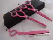 14cm Professional Barber Razor Edge Powder Coated Hair Cutting and Texturizing Shears Scissors Pink with Straight Razor Student Teacher Kit Set+case Black