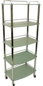 LCL Beauty 1.5m Tall Frosted Glass Display Shelf with Polished Chrome Frame