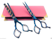 Professional Hairdressing Cutting Scissors Shears 14cm Set Blue Stripe Along with Free Case Also 30 Days Return Policy Applied
