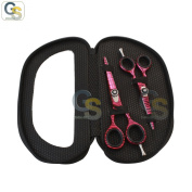 G.S HIGH QUALITY PROFESSIONAL RAZOR EDGE PINK ZEBRA HAIRDRESSING BARBER SALON SCISSORS/SHEARS SET 14cm & 11cm