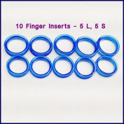 10 Blue Barber Hair Shears Scissors Finger Rings Grips Inserts 5 Sets- 5 Large + 5 Small, Soft Rubber Ring Sizer