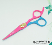 Macs Professional Pink & Blue Soft Material Beauty full Double Tone Combination Razors Edge Barber Hair Cutting Scissor /Shear Made Of 440 Japanese Stainless Steel 14cm -15047