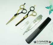 MACS Professional Black & Gold Barber Scissor Razors Edge Hair Cutting Scissors Set Contain 5 PCs Made Of Japanese High Grade Stainless Steel 14cm With Black Leather Case-15037