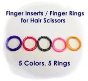 Barber Hair Shears Scissors Finger Rings Grips Inserts 5 Rings 5 Colours Soft Rubber Ring Sizer