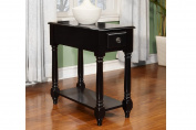 Black Rectangular Chair Side Accent Table by Poundex