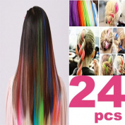 24 PCS Colour OPCC Bundle 60cm Multi-Colours Party Highlights Colourful Clip In Synthetic Hair Extensions,1PCS Opcc Sticky Notes included