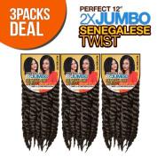 Authentic Synthetic Hair Crochet Braids Perfect 30cm 2X Jumbo Senegalese Twist (Havana Mambo Twist Style)