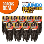 Authentic Synthetic Hair Crochet Braids Perfect 30cm 2X Jumbo Senegalese Twist (Havana Mambo Twist Style)