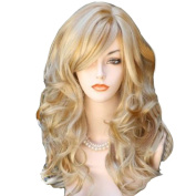 RightOn New Fashion Women Girls High Quality Sexy Long Curly Golden Blonde Hair Cosplay Party Wig with Free Wig Cap and Comb