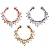 Oasis Plus 3pcs Crystal Clip on Septum Fake Nose Rings Clicker Stud Hoop Hanger Non Piercing Body Jewellery