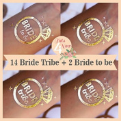 Set of 16 Bachelorette Party, bachelorette tattoo, bride tribe, bridal party, bridesmaid tattoo, bride, hens party, wedding party
