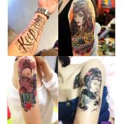 Dalin 4 Sheet of Fashion Temporary Tattoo, Keep Calm, Japanese Lady, Sexy Lady