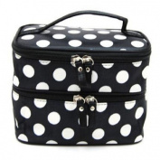 Womens Fashion Wave Dot Case Makeup Double Cosmetic Hand Bag