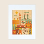 Petit Collage Unframed Print on Wood, London, Small