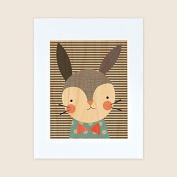 Petit Collage Unframed Print on Wood, Dapper Rabbit, Large