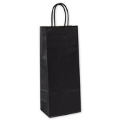15-050313-12 5.25 x 8.3cm x 33cm . Kraft Wine Bags & #44; Black