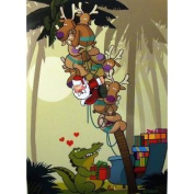 Alligator Bestowing Gifts on Santa and Reindeer Christmas Holiday Boxed Cards