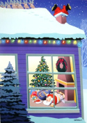 Santa Lost Pants in Chimney Funny Kersten Boxed Christmas Holiday Cards
