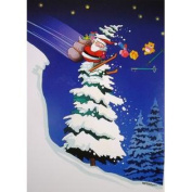 Santa Treetop Skier Funny Kersten Boxed Christmas Holiday Cards