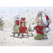 Trimmery Santa Bear Pulling Sled Christmas Cards