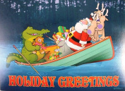 Santa and Alligator in Boat Kersten Boxed Christmas Holiday Cards