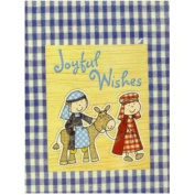 Trimmerry Blue Plaid Mary & Joseph on a Donkey Christian Christmas Cards