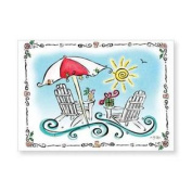 Whimsical Beach Chairs and Umbrella Christmas Holiday Boxed Greeting Cards