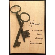 Vintage Cedar Mailable Wooden Post Card (Home is where the story begins