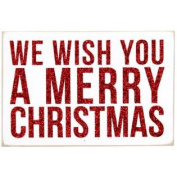 We Wish You A Merry Christmas - Red Letters on White - Mailable Wooden Christmas Greeting Card