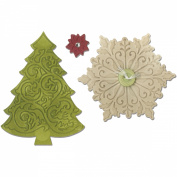 Sizzix Bigz Die W/Bonus Textured Impressions 14cm x 15cm -Christmas Tree & Snowflake