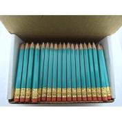 Half Pencils with Eraser - Golf, Classroom, Pew, Short, Mini - Hexagon, Sharpened, Non Toxic, #2 Pencil, Colour - Light T