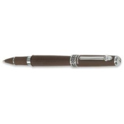 Wedgwood Chocolate Rollerball Pen, Greek Key Motif Middle Ring with Chrome Accents